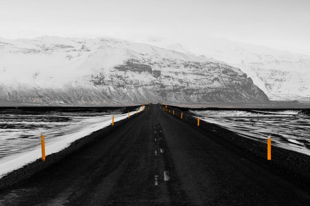 Route enneigée d'Islande